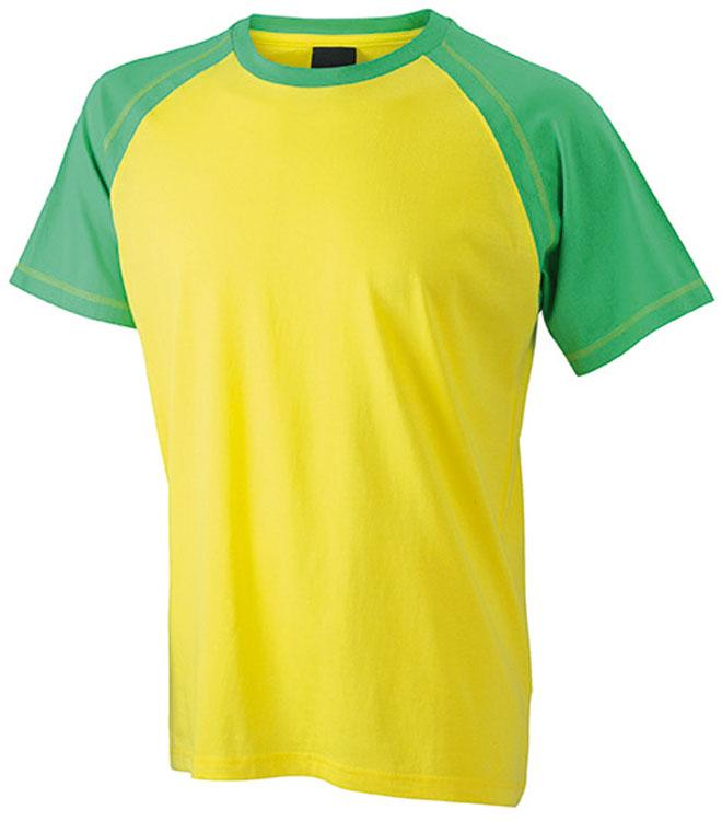 T-Shirt Mens Raglan-T Geel/Kikkergroen